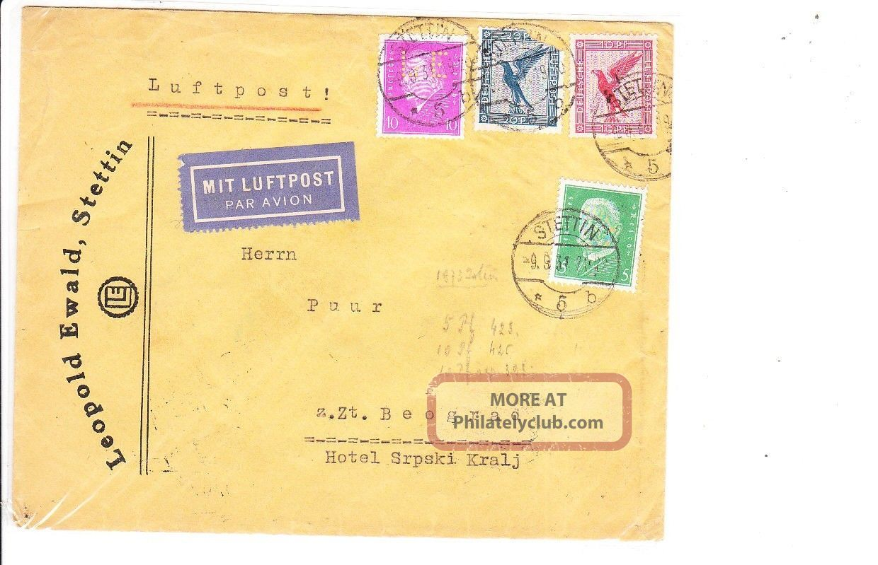 Germany 1931 Air Mail Cover To Yugoslavia Vf Worldwide photo