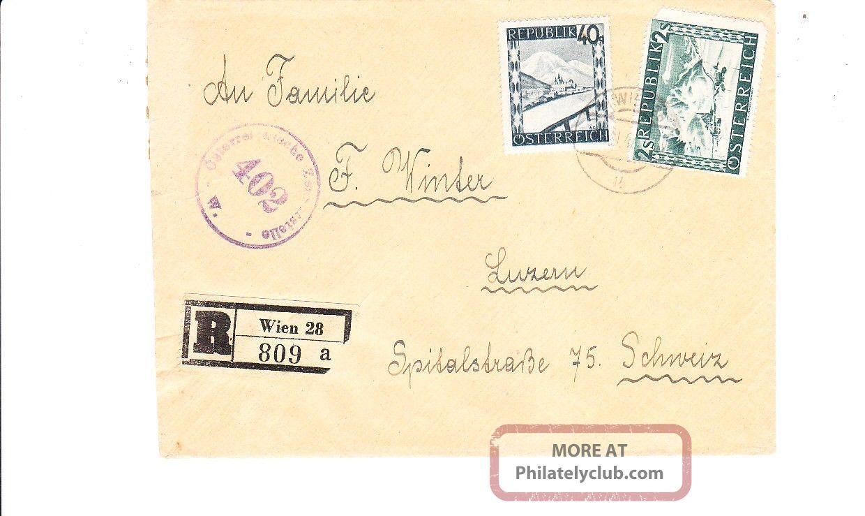 Austria 1947 Registered Censored Cover To Switzerland Vf Worldwide photo