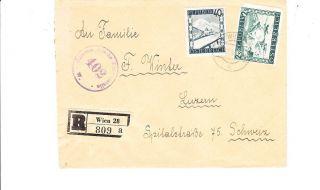 Austria 1947 Registered Censored Cover To Switzerland Vf photo
