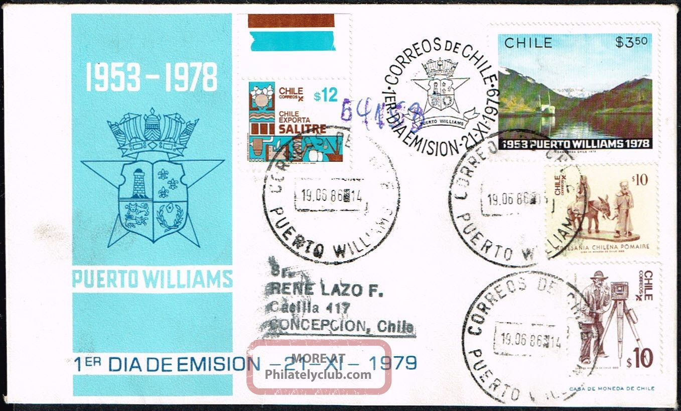 691 Chile Registered Cover 1986 Correo Naval Puerto Williams - Concepcion Worldwide photo