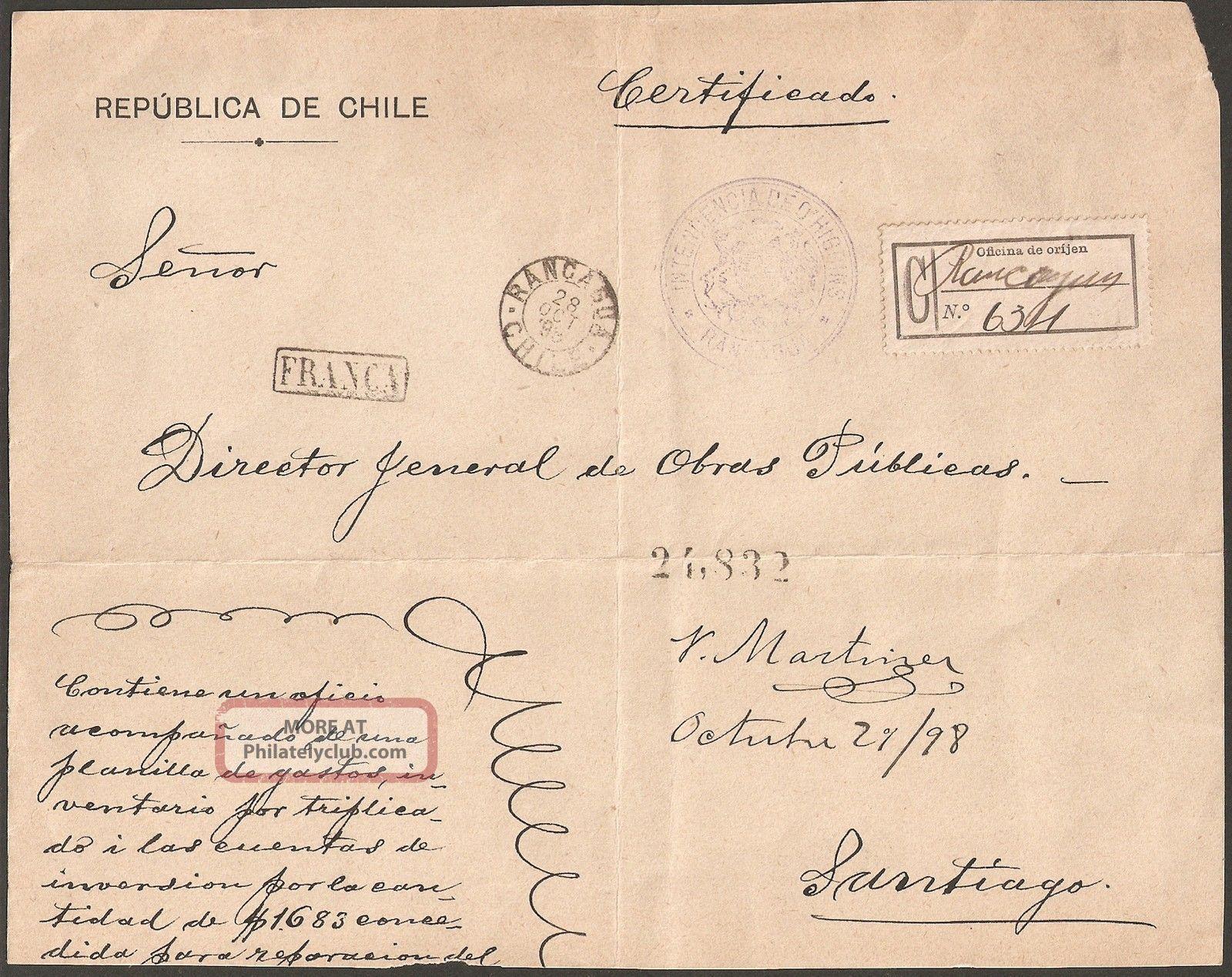 1661 Chile Big Fragment Registered 1898 Franca Rancagua Worldwide photo