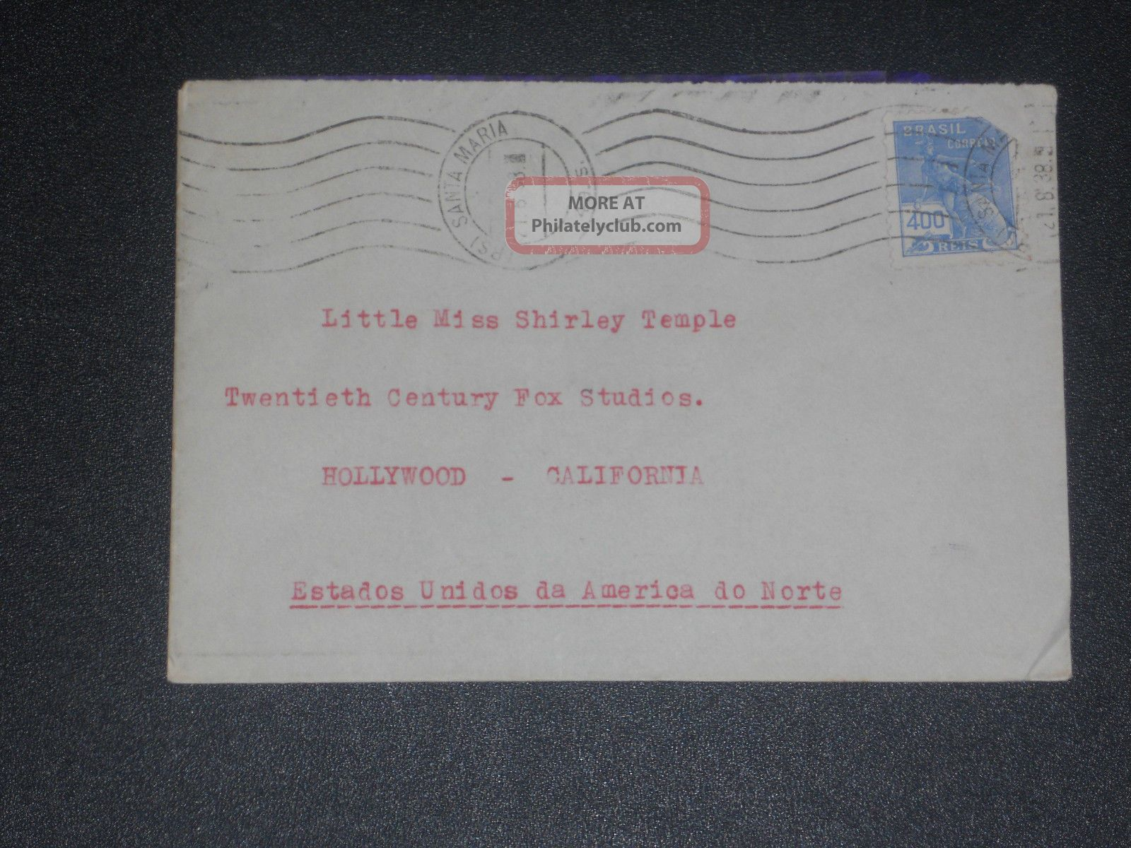 1938 Fan Mail Cover To Shirley Temple Worldwide photo