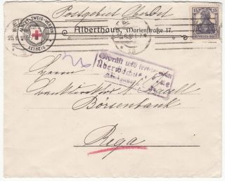 Germany Russia Latvia Red Cross Cover Leipzig - Riga 15 Pf Censorship 1918 Pobost photo