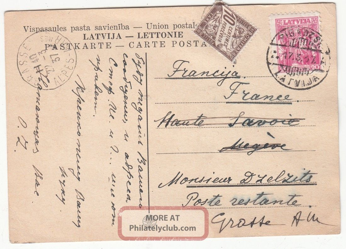 Latvia To France Card Mixed Franking Latvian 20snt & France 10c Postage Due 1937 Worldwide photo