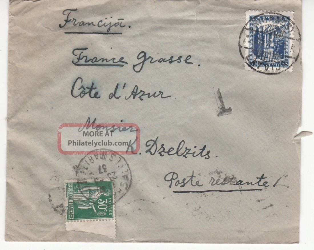 Latvia To France Cov.  Mixed Franking Latvian 35snt & France 30c Postage Due 1937 Worldwide photo