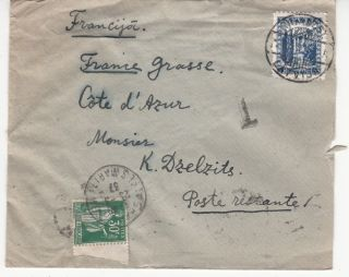 Latvia To France Cov.  Mixed Franking Latvian 35snt & France 30c Postage Due 1937 photo