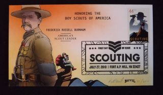 4472 Boy Scouts First Day Cover,  Hand Painted By Kendal Bevil 27 Of 200 photo