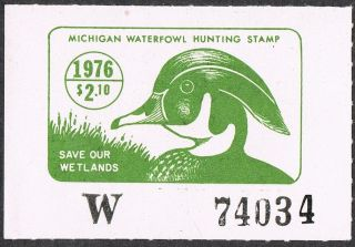 Scott Mi1 $2,  10 Michigan Waterfowl Hunting Stamp 1976 photo