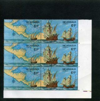Columbus,  Map Siglo Xvi  Flota De Colon - Nicaragua 1986 Bklt Of 6 photo