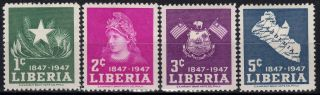 Liberia,  1947,  Sc 305 - 308,  100 Years Anniversary,  Full Sey,  Mlh photo