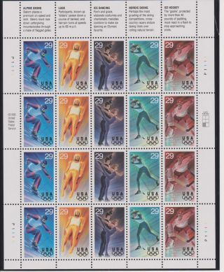 Us 1994 Winter Olympics Issue Sheet Of 20 Scott 2807 - 2811 photo