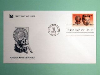 Nikola Tesla Fdc 1st Day Of Issue Sept.  21,  1983 American Inventors Usa $0.  20 photo