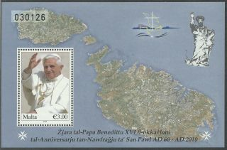 Malta 2010 - Famous People Pope Benedict Xvi Religion Map - Sc 1409 photo