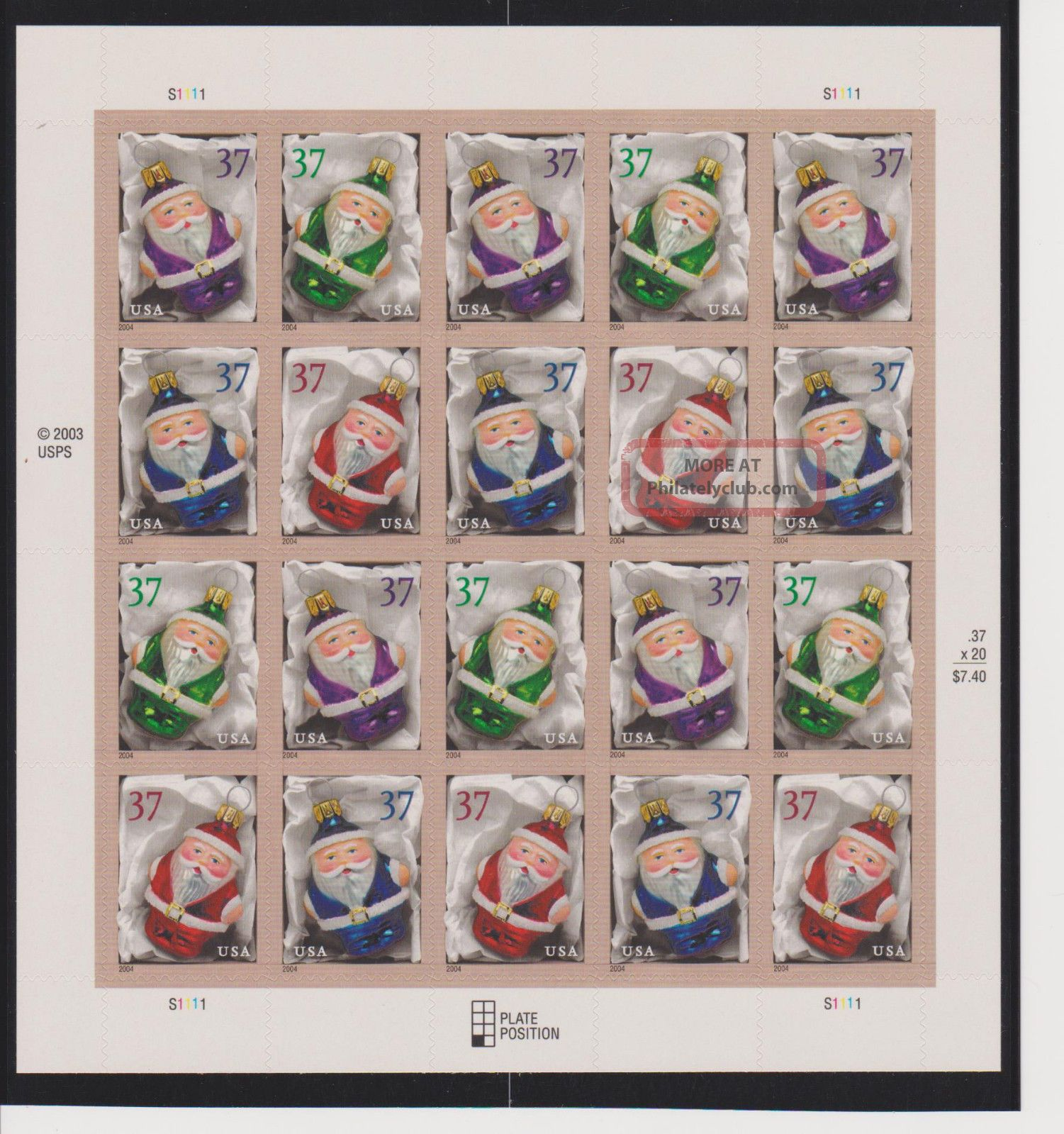 Us Christmas Ornaments Sheet Of 20 Scott 3883 - 3886 Topical Stamps photo