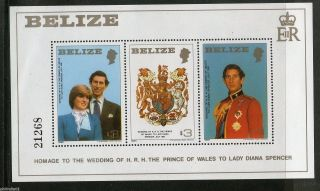 Belize 1981 Lady Diana & Prince Charls Royal Wedding Sc 554 M/s 13328 photo