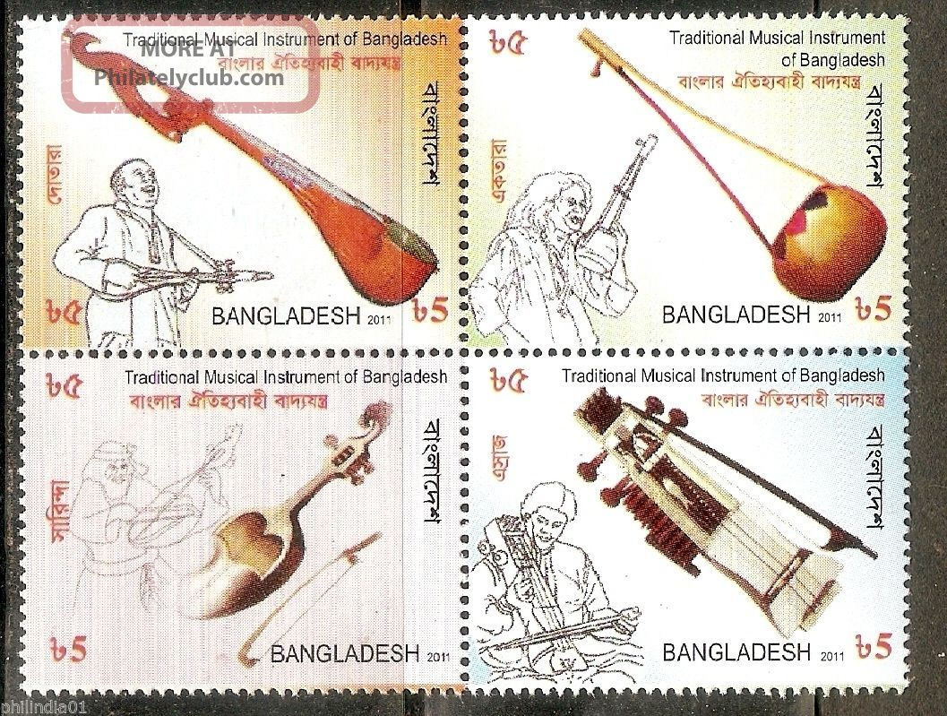 Bangladesh 2011 Traditional Musical Instrument Music Se - Tenant Block/4 1250 Topical Stamps photo