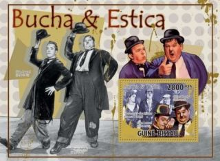 Guinea - Bissau - Laurel & Hardy Stamp Souvenir Sheet Gb10709b photo