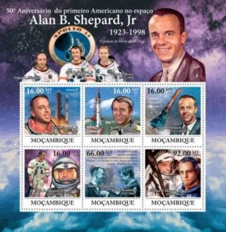 Mozambique - Alan Shepard,  Nasa & Space - 6 Stamp Sheet 13a - 637 photo