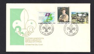Cyprus 1982 75th Anniversary Of Scouts Movement Lord Baden Powell Official Fdc photo