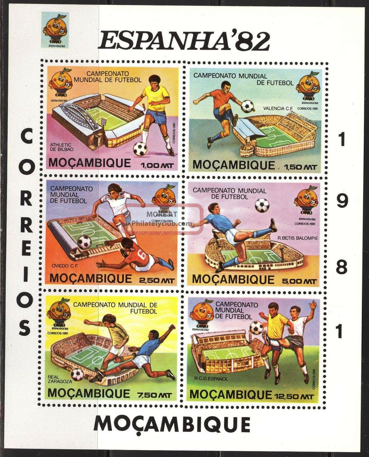 Mozambique 1981 Football Soccer Fifa World Cup Spain 1982 S/s Of 6 Imperf. Topical Stamps photo