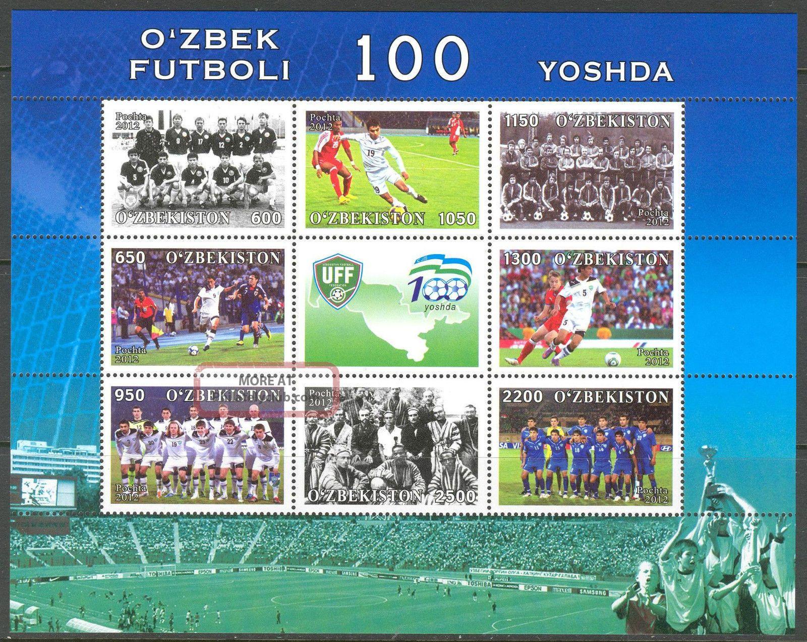 Uzbekistan 2012 Soccer Centenary Of Uzbek Football Sheet Of 8 +label Sports photo