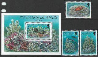 Pitcairn Islands 1993 Sc 407 - 410 Fish Coral Marine Life photo