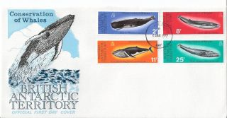 British Antarctic Territory 1977 Whale Conservation Fdc (sc 64 - 67) photo