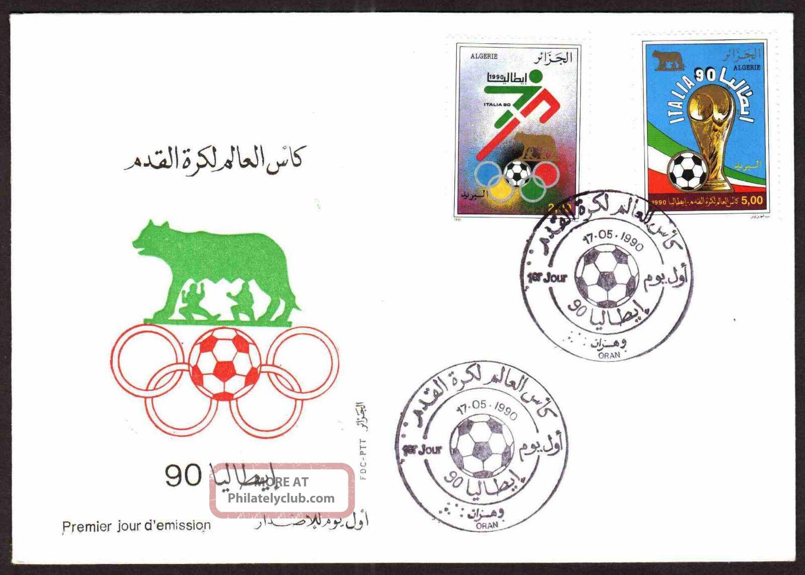 Algeria - 1990 - Italia World Cup Soccer,  Scott 917/18 - Fdc,  Topical Cancel Sports photo