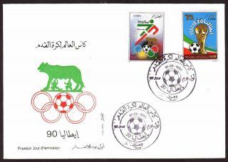 Algeria - 1990 - Italia World Cup Soccer,  Scott 917/18 - Fdc,  Topical Cancel photo
