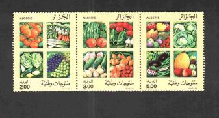 Algeria 1989 Vegetables & Fruits,  Scott 901a - C - Strip Of 03 - photo