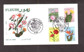 Algeria 1973 - Flowers (4v) Scott 496/99 - Fdc With Topical Cancel photo