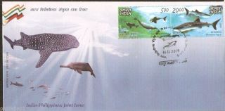 India - Philipines 2009 Joint Issue Whale Dolphin Marine Life Se - Tenant Fdc photo