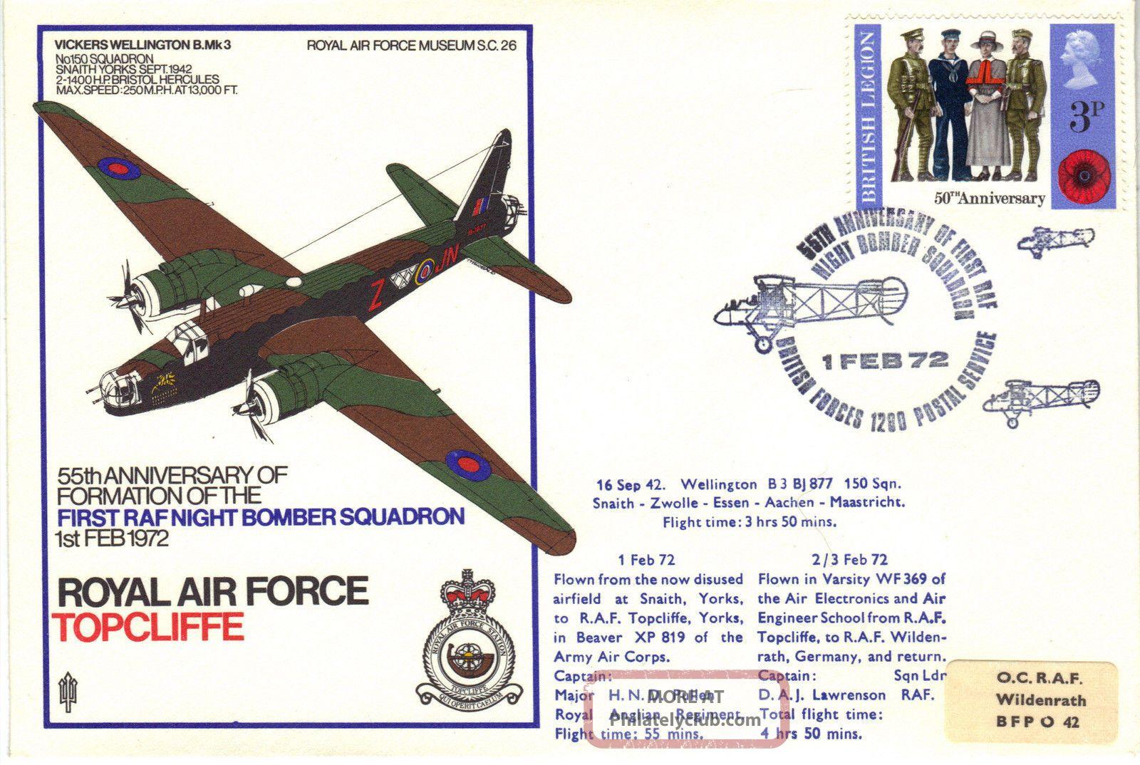 1972 Raf Sc26 55th Anniv 1st Raf Night Bomber Squadron Cover Topcliffe Ref:fp39 Transportation photo