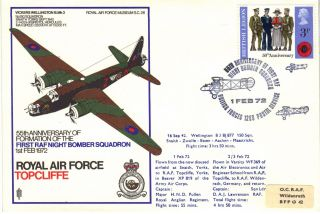 1972 Raf Sc26 55th Anniv 1st Raf Night Bomber Squadron Cover Topcliffe Ref:fp39 photo