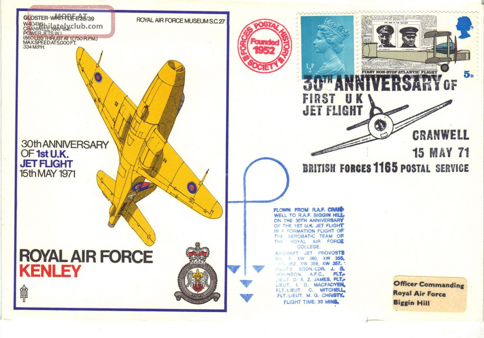 1971 Raf Sc27 30th Anniv 1st Uk Jet Flight Kenley Brps1165 Flown Cover Ref:fp40 Transportation photo