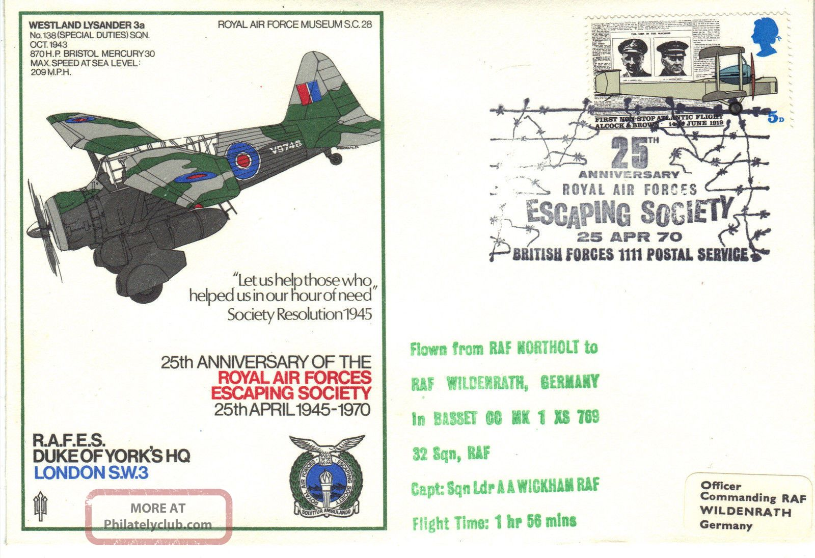 1970 Raf Sc28 25th Anniv Raf Escaping Society Duke Of Yorks Hq Cover Ref:fp41 Transportation photo