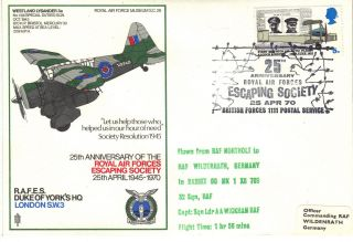 1970 Raf Sc28 25th Anniv Raf Escaping Society Duke Of Yorks Hq Cover Ref:fp41 photo