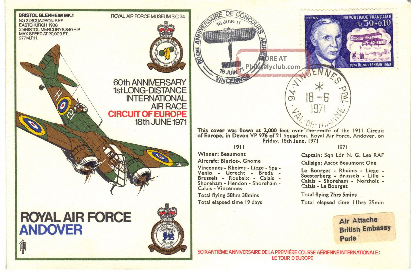 1971 Raf Sc24 60th Anniv 1st Long - Distance Air Race Circuit Europe Cover Re:fp37 Transportation photo