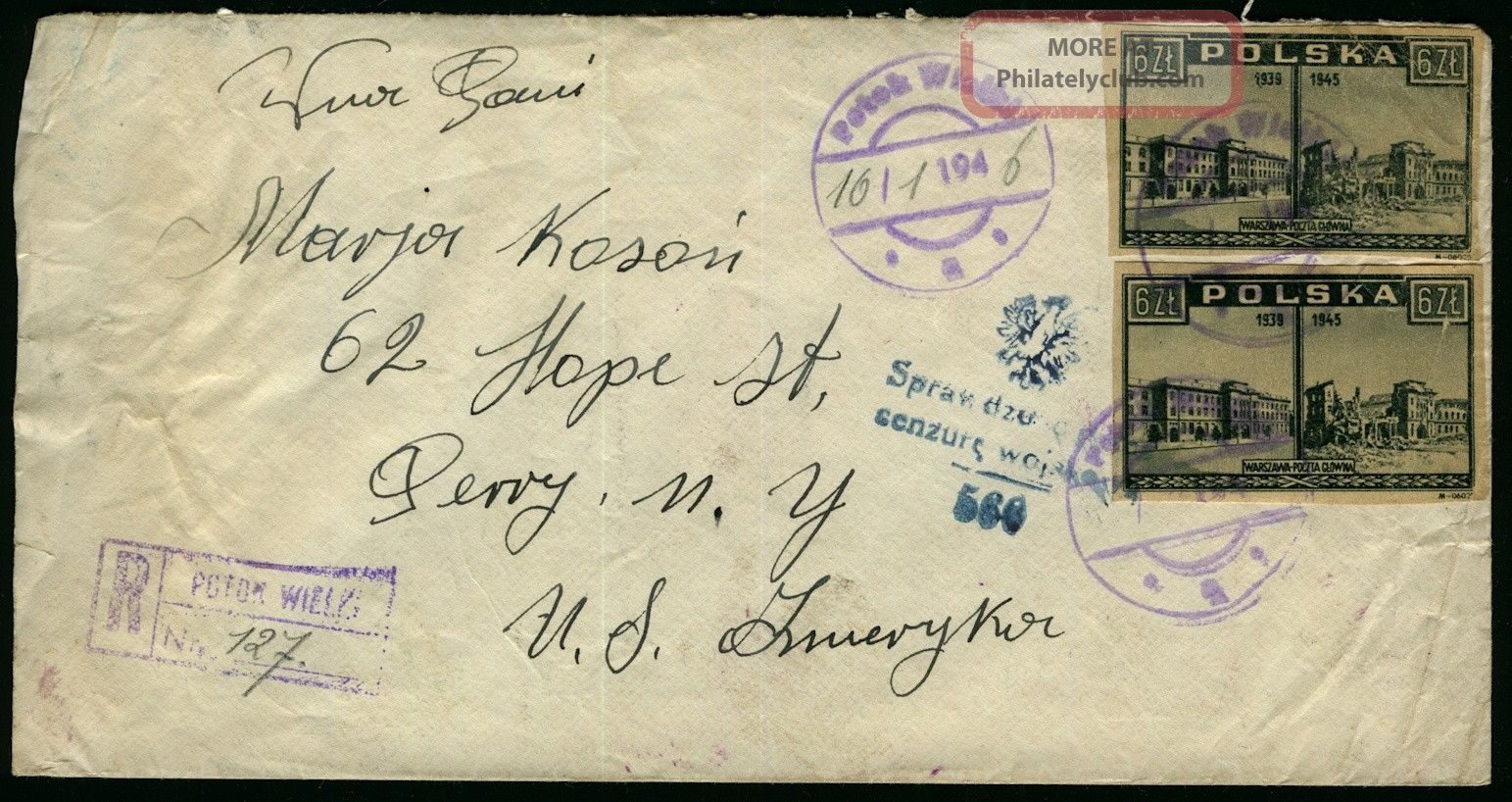 Poland 1946 Registered And Censored Mail Cover To Perry York,  Usa Europe photo