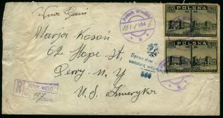 Poland 1946 Registered And Censored Mail Cover To Perry York,  Usa photo