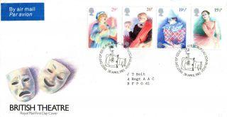 28 April 1982 British Theatre Royal Mail First Day Cover Bureau Shs Air Sticker photo