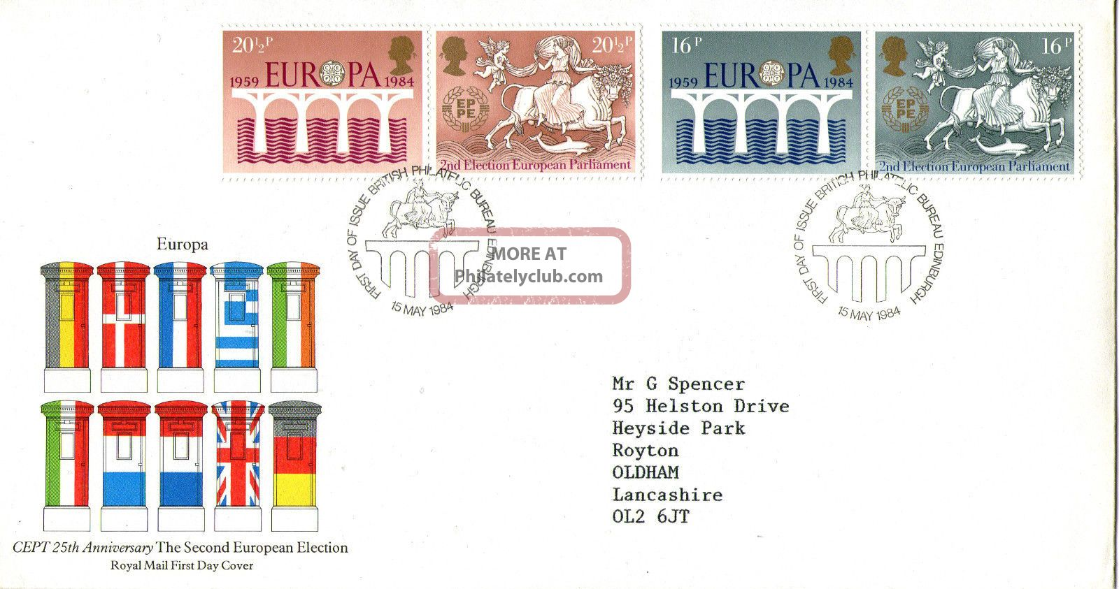 15 May 1984 Europa Royal Mail First Day Cover Bureau Shs Transportation photo