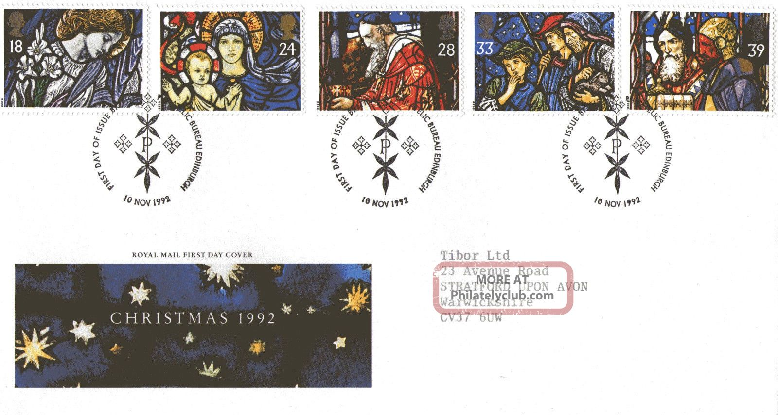 10 November 1992 Christmas Royal Mail First Day Cover Bureau Shs Topical Stamps photo