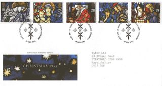 10 November 1992 Christmas Royal Mail First Day Cover Bureau Shs photo