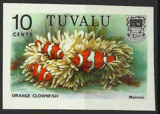 Tuvalu Marine Life Orange Clownfish Amphiprion Imperf Trial Color Proof 1985 photo