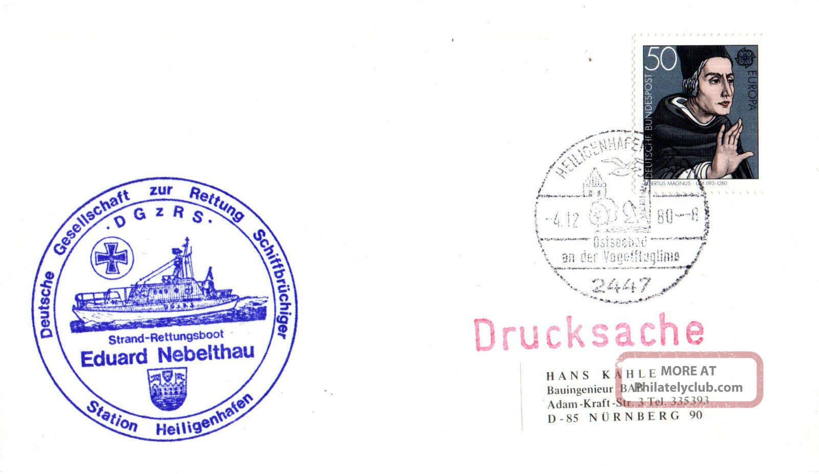4 December 1980 German Lifeboat Eduard Nebelthau Cached Cover Europe photo