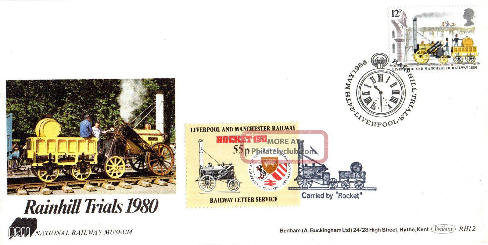 24 May 1980 Rainhill Trials Benham Rh 12 Commemorative Cover Liverpool Shs (a) Transportation photo
