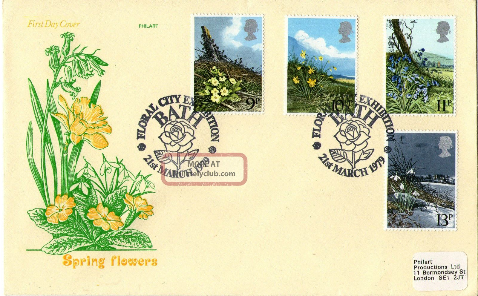 21 March 1979 Spring Flowers Philart First Day Cover Floral City Bath Shs Topical Stamps photo