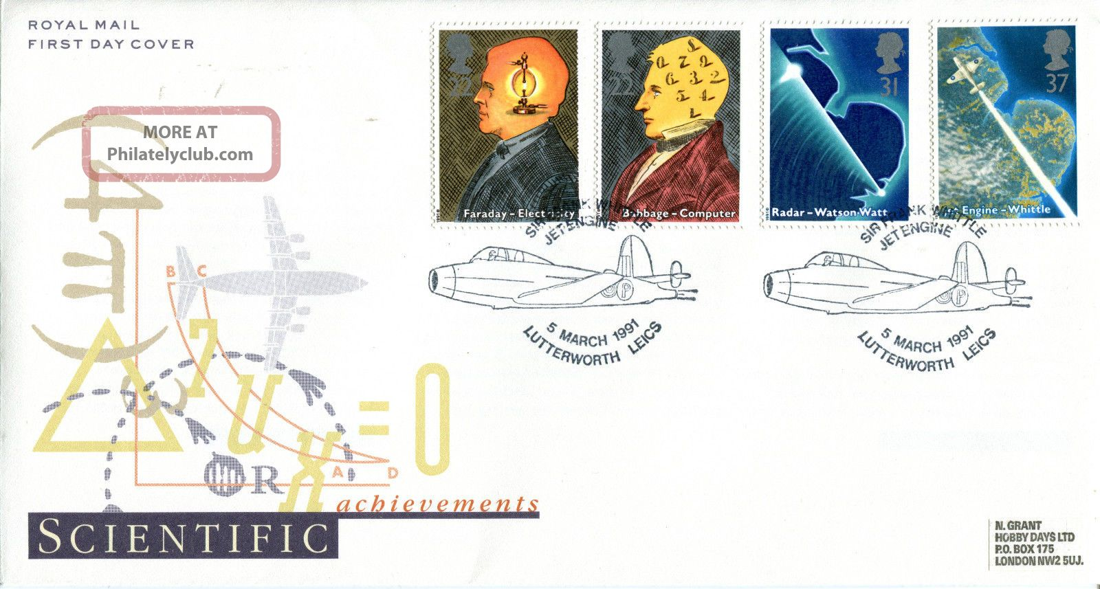 5 March 1991 Scientific Achievement Rm First Day Cover Lutterworth Shs Transportation photo