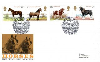 5 July 1978 Shire Horses Post Office First Day Cover Market Weighton School Shs photo